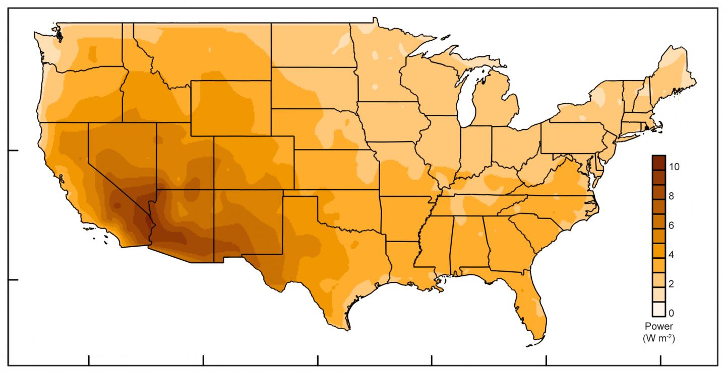 Energy From Evaporation Could Power Much Of US Study Finds - Us evaporation map