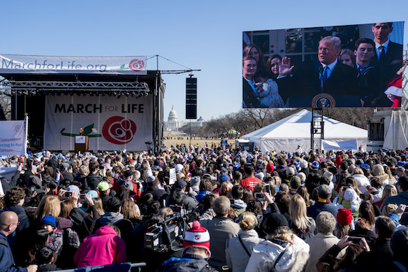 President Donald Trump Speaks Via A Live Feed To Anti Abortion Activists As  They Rally On The National Mall In Washington, Friday, Jan.