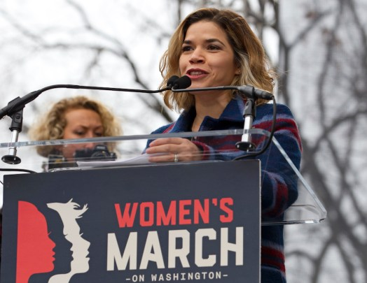 Actress America Ferrera speaks to the crowd during the women's march rally, in Washington on Jan. 21, 2017. (AP Photo/Jose Luis Magana, File)