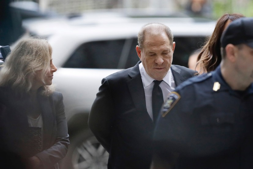 Harvey Weinstein heads to court Monday in New York as prosecutors work to bolster their case against the disgraced Hollywood producer with testimony from actress Annabella Sciorra, who says Weinstein raped her in the 1990s. Weinstein has denied all accusations of nonconsensual sex. (AP Photo/Mark Lennihan)