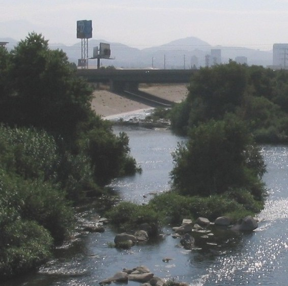 Looking east (downstream) at the Glendale Narrows, one of few places where the LA River has an earthen bed. (User2004 via Wikipedia)