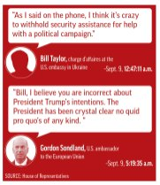 Graphic illustration highlights a text quote between U.S. ambassador to the EU Gordon Sondland and charge d'affaires Bill Taylor in September with a more than four-hour gap in the exchange.;