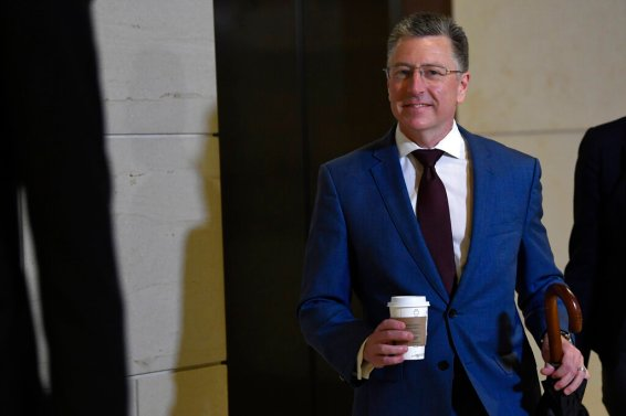 Kurt Volker, President Donald Trump's former special envoy to Ukraine, arrives on Capitol Hill in Washington on Wednesday, Oct. 16, 2019. (AP Photo/Susan Walsh)