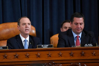 Rep. Devin Nunes, R-Calif., sits beside House Intelligence Committee Chairman Adam Schiff of Calif., left, on Nov. 13, 2019, in the first public impeachment hearing of President Donald Trump's efforts to tie U.S. aid for Ukraine to investigations of his political opponents. (AP Photo/Susan Walsh)