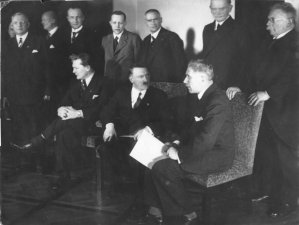 The ministers of the new cabinet of Germany's new Chancellor Adolf Hitler in Berlin on January 30, 1933. Front row from left to right: Hermann Goering, Adolf Hitler, Franz von Papen. Second row standing from right to left are: Alfred Hugenberg, Werner von Blomberg, Wilhelm Frick, Johann Ludwig Graf Schwerin von Krosigk, Paul Freiherr Eltz von Ruebenach and Franz Beldte. A Geneva businessman says he has purchased Adolf Hitler's top hat and other Nazi memorabilia to keep them out of the hands of neo-Nazis and will donate them to a Jewish group. (AP Photo)