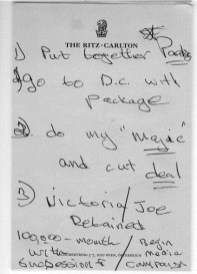 House Democrats released this note written by Rudy Giuliani associate Lev Parnas on a notepad from the Ritz Carlton in Vienna. Parnas was arrested in October at Dulles International Airport headed to a flight bound for Austria's capitol. (Photo via House Intelligence Committee)