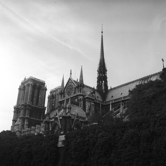 Notre Dame cathedral as seen from the Seine. From Walt Girdner's Paris collection