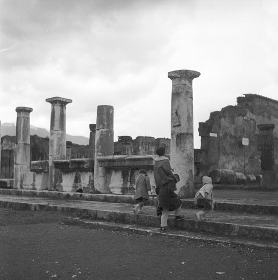 Exploring the ruins of Pompeii, 1960.