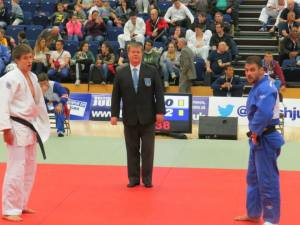 Martin Rivers refereeing a Judo contest