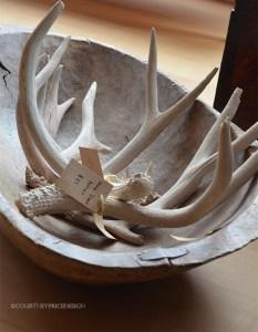 bowl of antlers, ski house decor, colorado house, mountain home