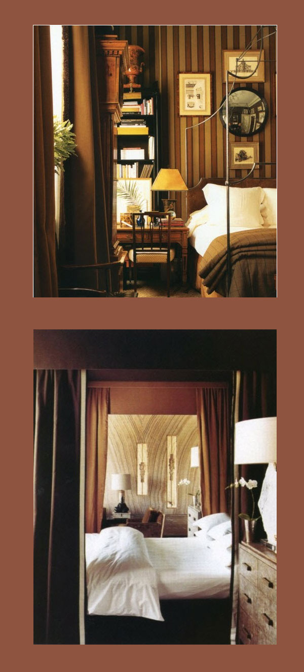 Color Study, Fall Tones, fall colors, bedroom colors, color palette fall, white bedding, House & Garden, masculine bedroom scheme