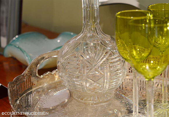 Crystal barware, vintage glass, silver tray