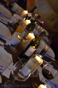 table setting, wine and candles