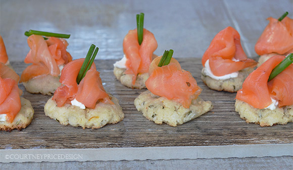 Smoked Salmon App, party food, lemon rosemary,  entertaining, bite sized, apps