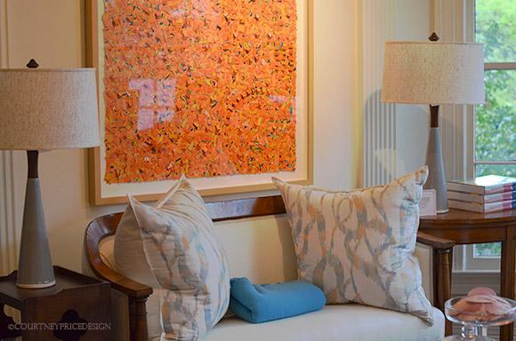 Blue Print , contemporary design, decorative pillows, modern art, lamps, biedeiermier -as seen on www.CourtneyPrice.com