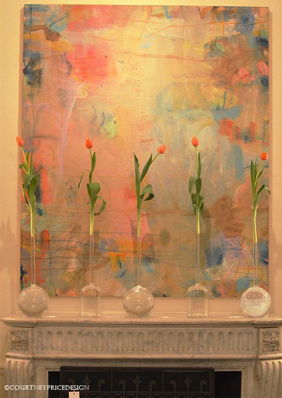Contemporary art, decorating mantel, mantel decor, contemporary floral, interior design, color, abstract art, contemporary art-as seen on www.CourtneyPrice.com