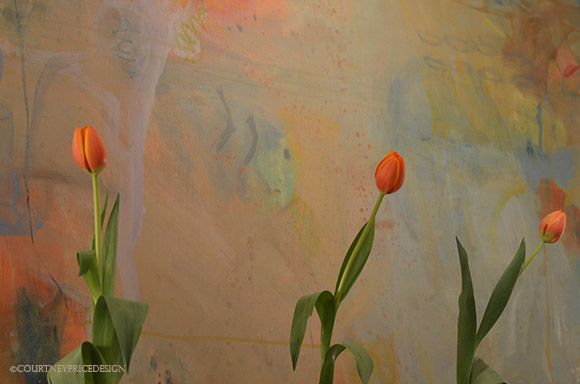 contemporary floral, tulips, contemporary art-as seen on www.CourtneyPrice.com