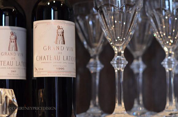 Chateau Latour, fine wine, crystal wine glasses