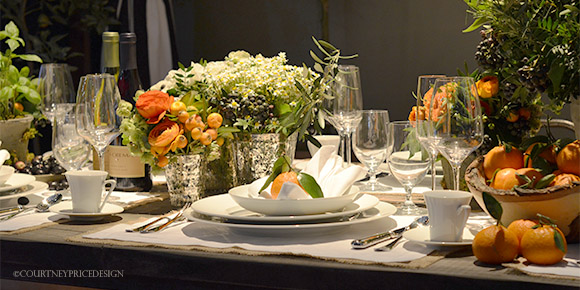 Table setting orange produce accents on www.CourtneyPrice.com