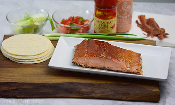 Smoked Salmon Club Tacos -- seriously delicious, 10 min prep time- on www.CourtneyPrice.com http://wp.me/p2e5e8-4xV