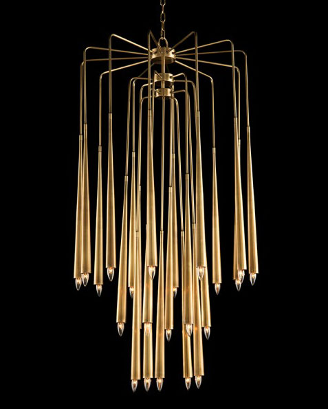 Coolest chandelier ever! The Hans Chandelier with a Cascade of Twenty Three Brass Drop Lights at varying heights. www.CourtneyPrice.com
