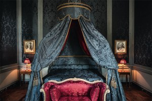 blue bedroom, french decor, Chateau de Villette as seen on www.CourtneyPrice.com