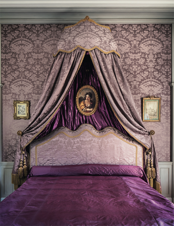purple bedroom, french decor, Chateau de Villette as seen on www.CourtneyPrice.com