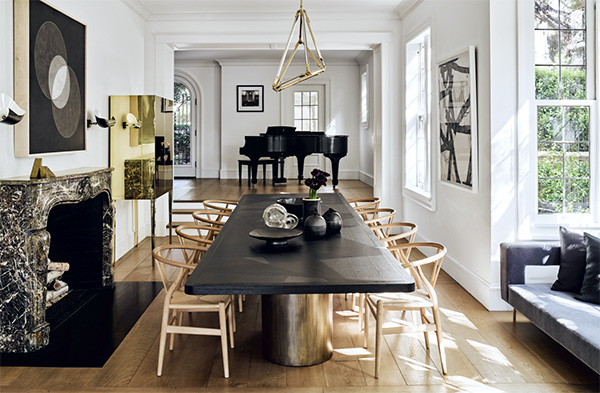Traditional house with contemporary furnishings by Nicole Hollis, as seen on CourtneyPrice.com