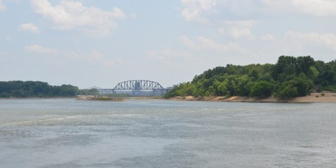 Ohio river from the Indiana side with Louisville in the distance