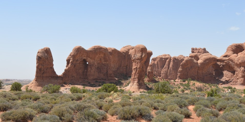 Arches National Park - Elephant and Double Arch on the right