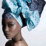 blue ankara gele headtie