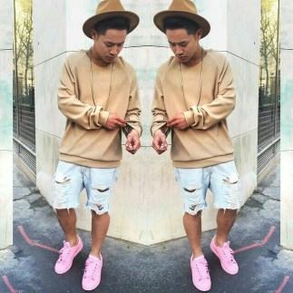brown sweatshirt half shorts pink shoes streetwear image