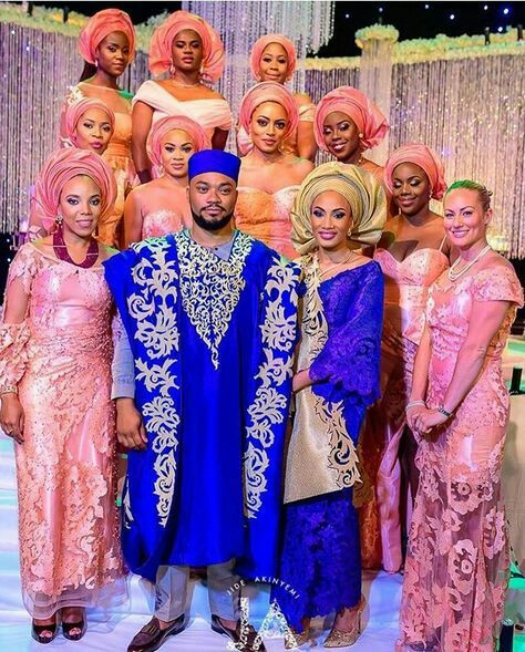 aso ebi Yoruba traditional wedding attire image