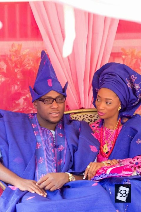 blue and pink Yoruba traditional wedding attire image