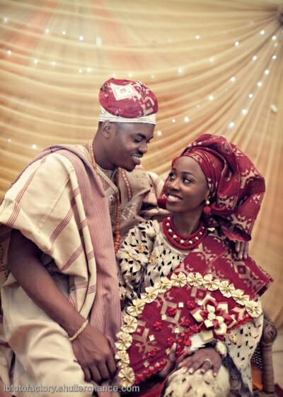 white and red Yoruba traditional wedding attire image 1