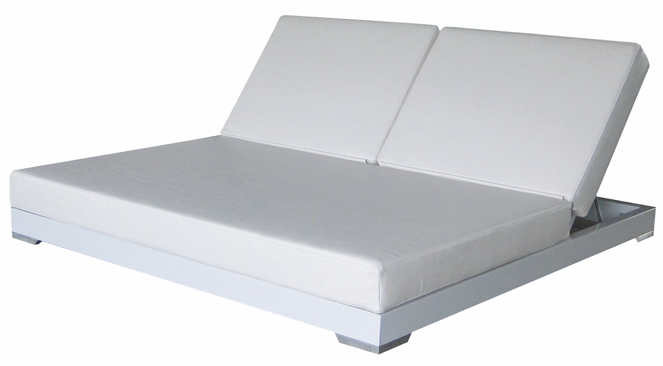 Modern Aluminum Pvc Leather Daybed Double Chaise Lounger Contract Hotels