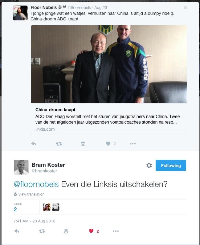 Bram Koster on Twitter. -@floornobels Even die Linksis uitschakelen-- - Screen Shot 30-08-16 11.53