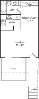 Studio / 1 Bath / 427 sq ft / Deposit: $350 / $740