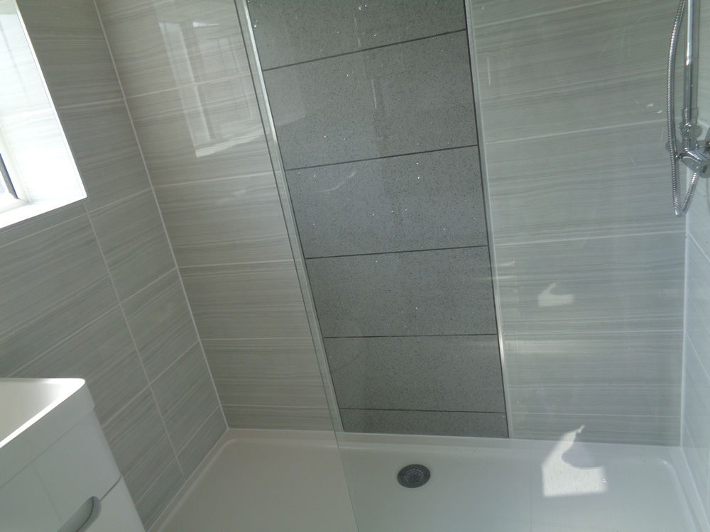 Coventry Bathrooms Wall To Wall Walk In Shower With Grey Feature Wall