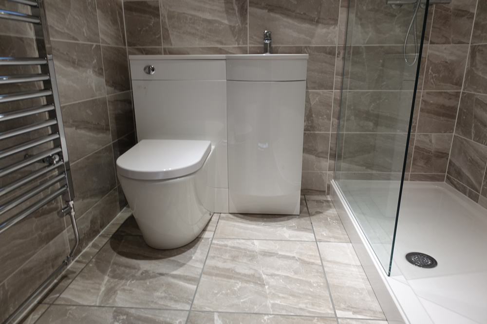 Walk In Shower with Modern Toilet and Basin with Storage on Small:e_D8Ihxdoce= Restroom Ideas  id=42252