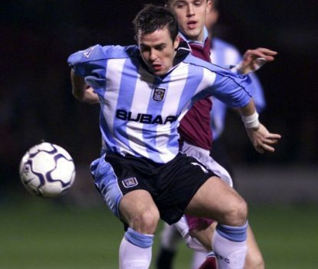 Coventry Citys David Thompson Front Gets Ahead Of West Ham Uniteds Michael Carrick During
