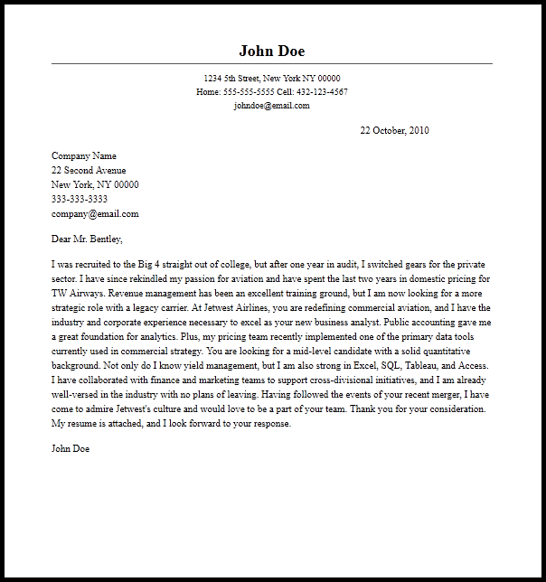 Sample Vp Cover Letters