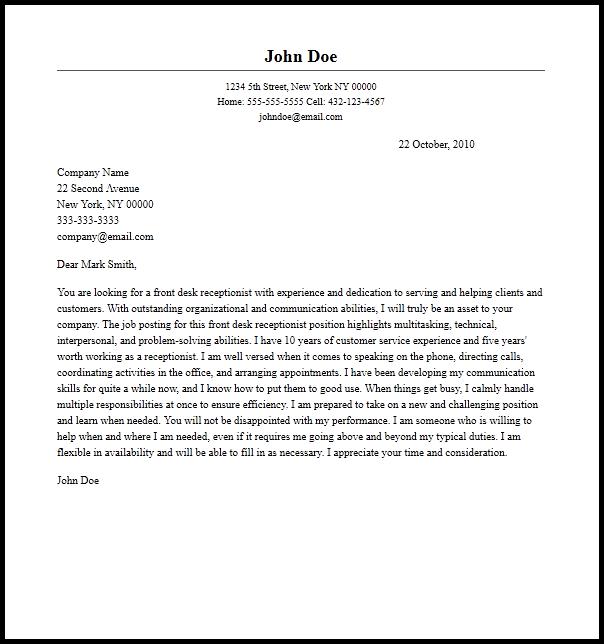Professional Front Desk Receptionist Cover Letter Sample