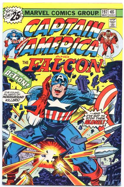 Captain America 197 - Superhero - Star - Red Gloves - A - Rockets - Jack Kirby