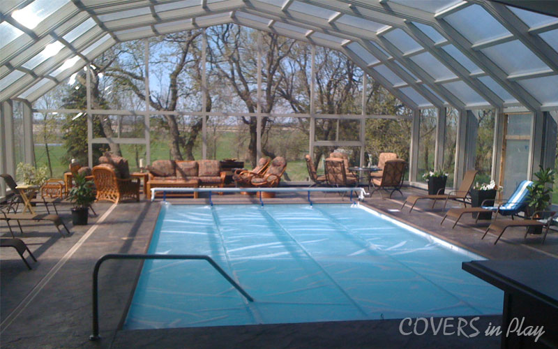 Covers In Play Retractable Roof Enclosure Over Your Swimming Pool