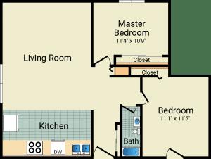 2 Bed / 1 Bath / 820 sq ft / Rent: $735