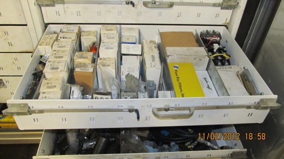 A glimpse of the array of parts our trucks are inventoried with.