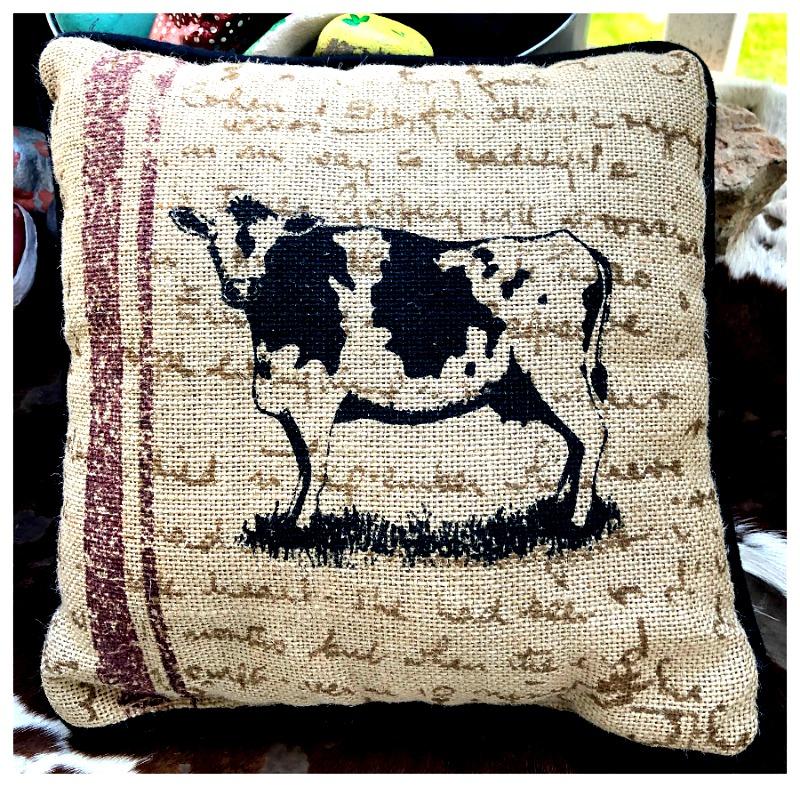 black cow red stripe on khaki burlap small accent pillow accent pillow throw pillow pillow cow stripe vintage farmhouse decor farmhouse style