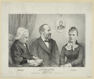 Lithograph: J.A. Garfield, President of U.S., c1881, Kurz & Allison, Half-length portrait of James A. Garfield, seated, facing right, with his mother and wife; portrait of Lincoln on wall in background. Library of Congress.