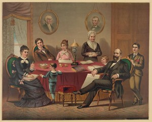 Lithograph, color: President James A. Garfield and his family seated around table, portraits of Washington and Lincoln on wall in background, c1881; Library of Congress Prints and Photographs Division, Washington DC.